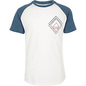 T-shirt imprimé bleu sarcelle à manches raglan pour garçon