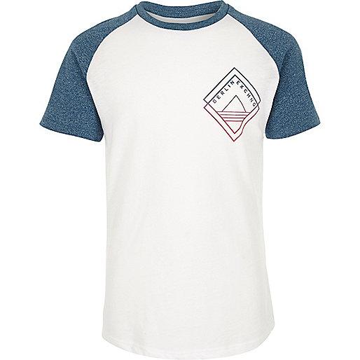 Boys teal print raglan t-shirt