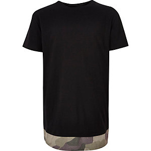 Boys black camo hem T-shirt