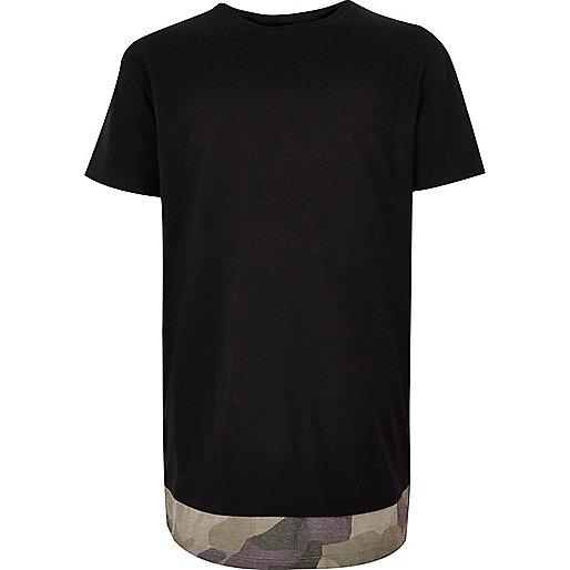 T-shirt noir à ourlet imprimé camouflage pour garçon