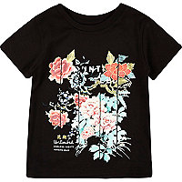 Mini boys black floral print t-shirt