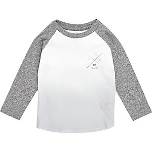 Mini boys grey faded raglan top
