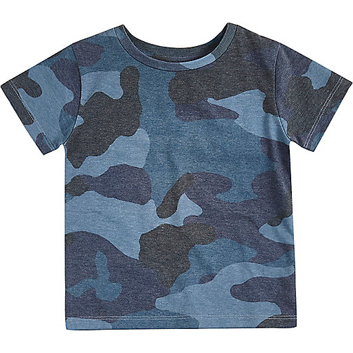 Mini boys blue camo T-shirt