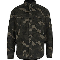 Hemd mit Camouflage-Muster in Khaki