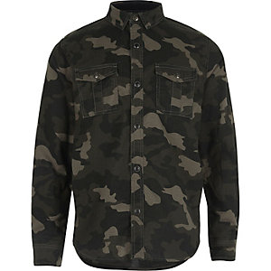 Boys khaki camo military shirt