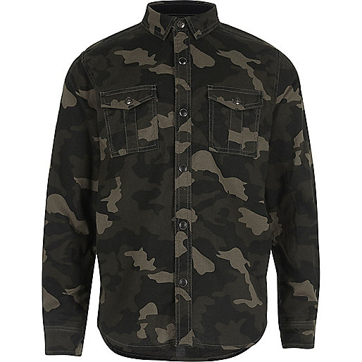 Boys khaki camo military shirt