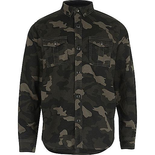 Chemise militaire imprimé camouflage kaki pour garçon
