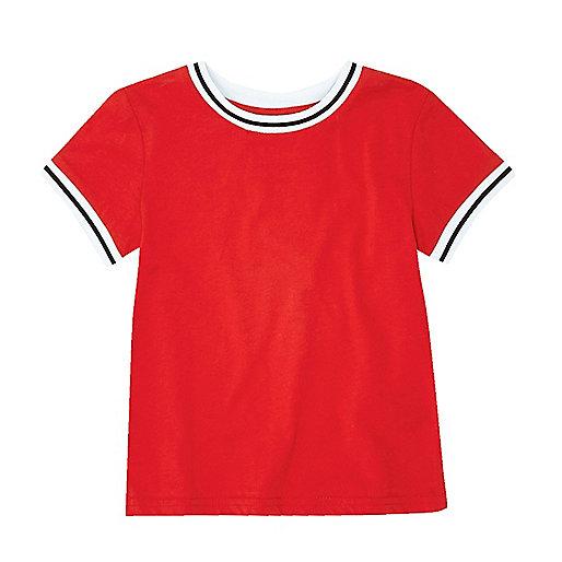 T-shirt côtelé rouge mini garçon
