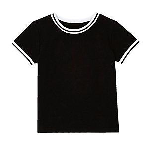 T-shirt côtelé noir mini garçon