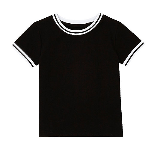 Mini boys black ribbed t-shirt