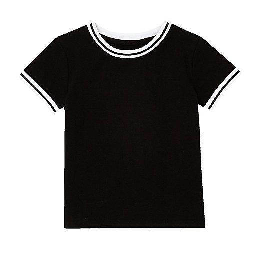 T-shirt côtelé noir pour mini garçon