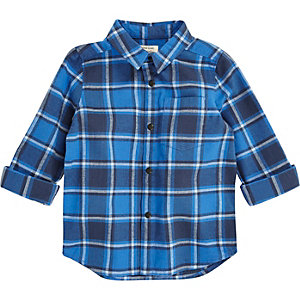 Mini boys blue checked shirt