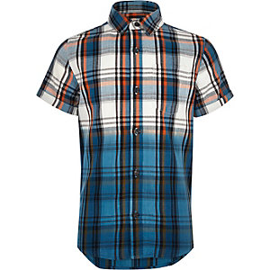 Boys ecru checked dip dye shirt