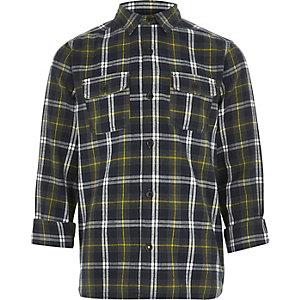 Chemise à carreaux verte pour garçon