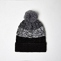 Boys grey ombré bobble hat