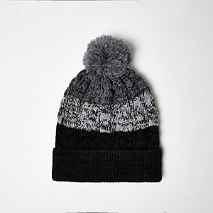 Boys grey ombré bobble hat