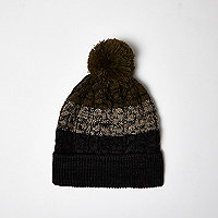 Boys khaki ombré bobble hat