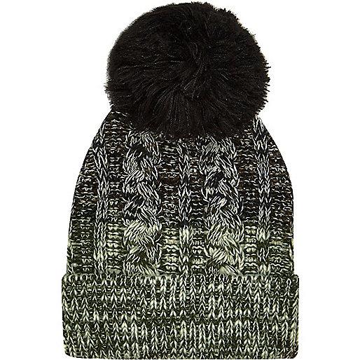 Boys khaki ombré bobble hat