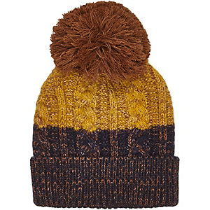 Boys mustard striped bobble hat