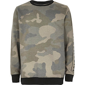 Boys khaki camo sweater