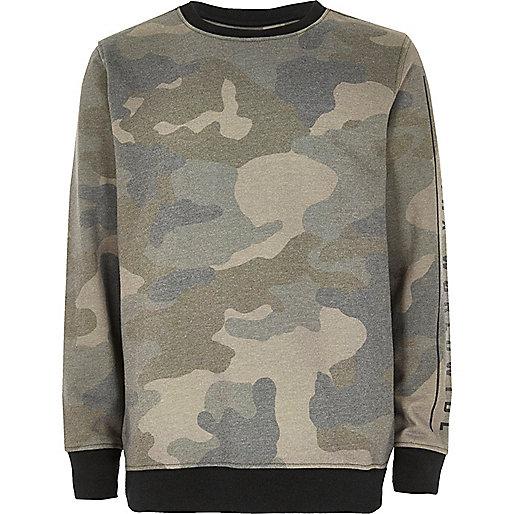 Boys khaki camo sweater