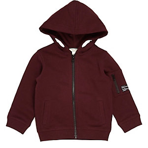 Mini boys dark red cotton hoodie