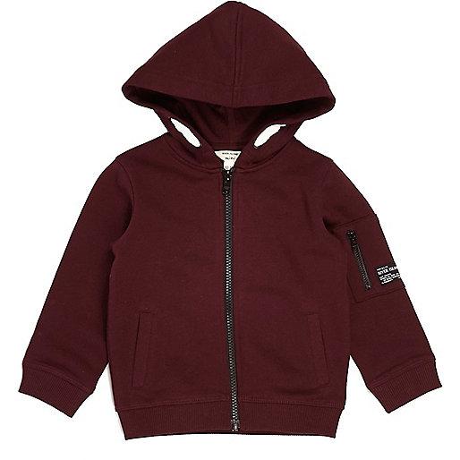Mini boys dark red cotton hoodie