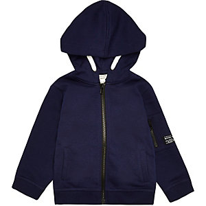Mini boys navy cotton hoodie