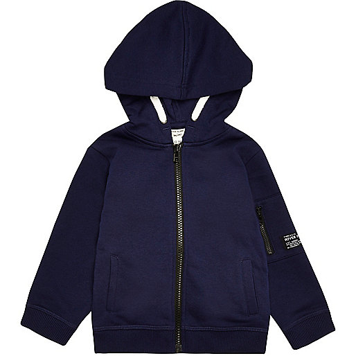 Mini boys navy cotton hoodie