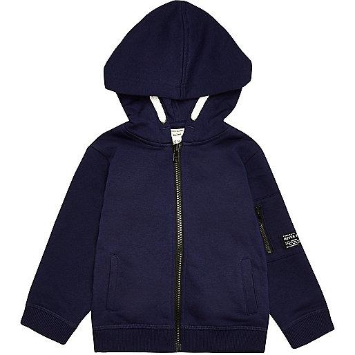 Sweat à capuche en coton bleu marine pour mini garçon