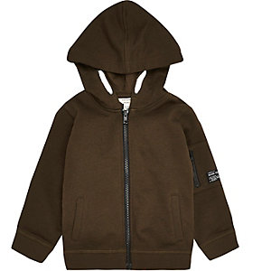 Mini boys khaki cotton hoodie