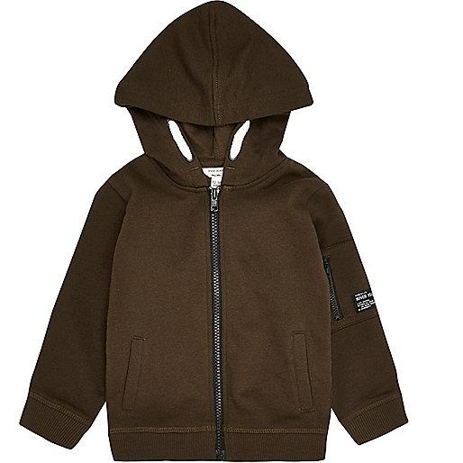 Mini boys khaki cotton hoodie