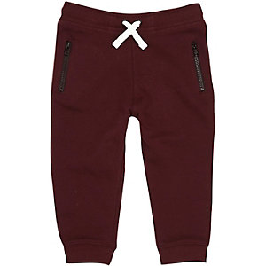 Mini boys dark red cotton joggers
