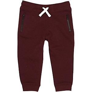 Pantalon de jogging en coton bordeaux pour mini garçon