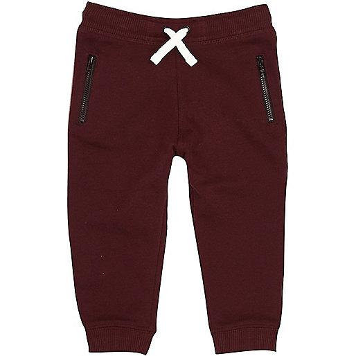 Mini boys dark red cotton joggers