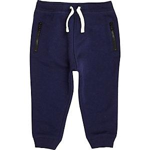 Mini boys navy cotton joggers
