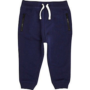Mini boys navy cotton joggers