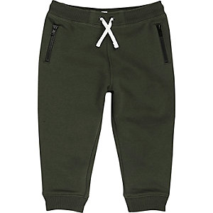 Mini boys khaki cotton joggers