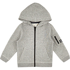 Mini boys grey cotton hoodie