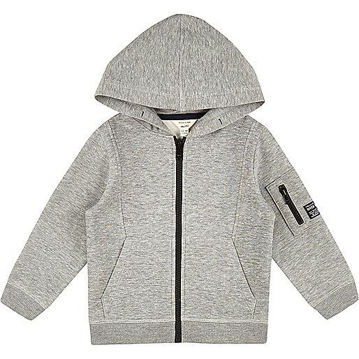 Mini boys grey cotton hoodie