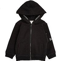 Mini boys black cotton hoodie