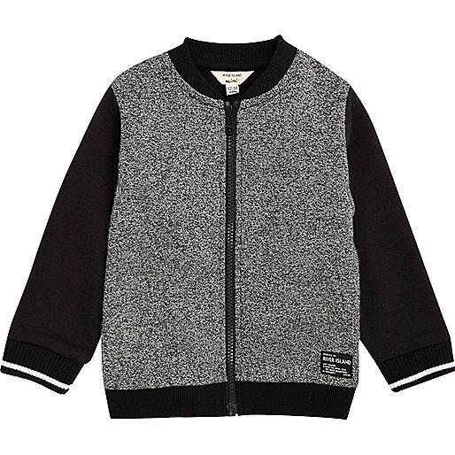 Mini boys grey colour block bomber jacket