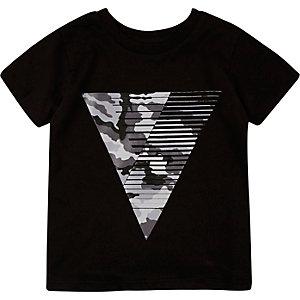 Mini boys black triangle print t-shirt