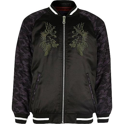 Boys black embroidered satin bomber jacket