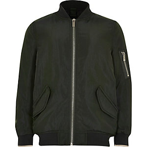Boys dark green padded bomber jacket