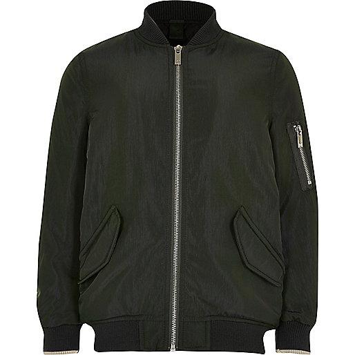 Boys dark green padded bomber jacket