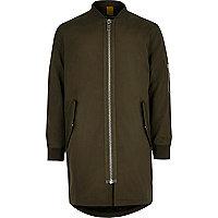 Boys khaki padded longline bomber jacket