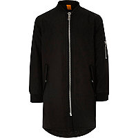 Boys black longline padded bomber jacket