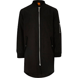 Boys black longline bomber jacket