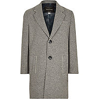 Boys grey raw edge overcoat
